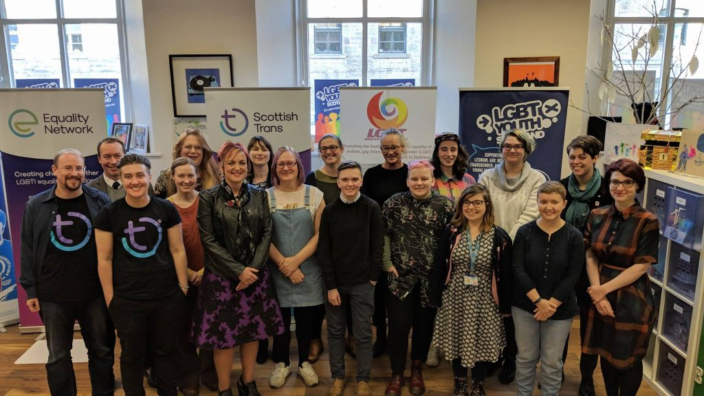Photo of Angela Constance, and participants at launch of the Scottish Government's consultation on reform of the Gender Recognition Act. 9/11/2017
