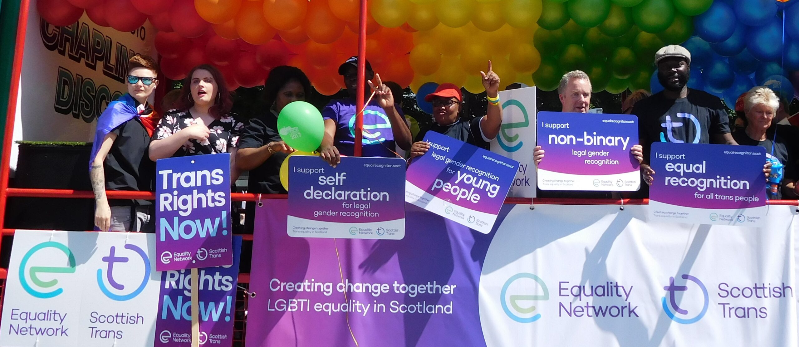 Volunteers on our float at Pride