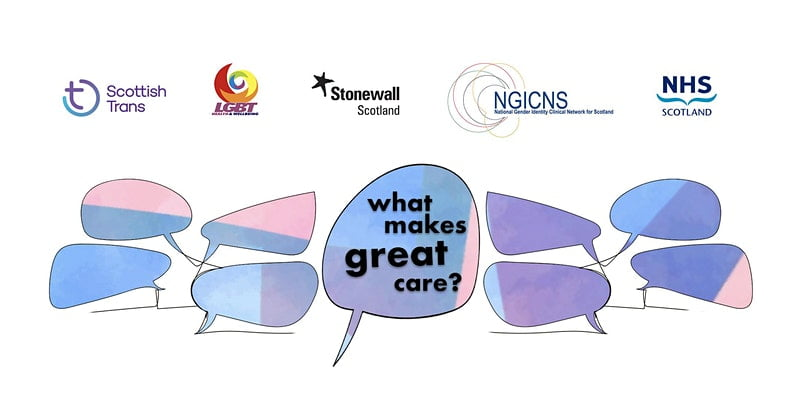"Speech bubbles containing the words ""what makes great care?"""